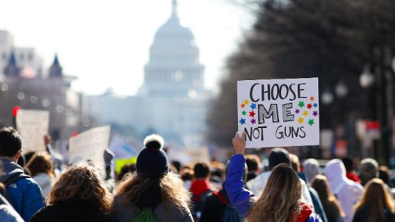 After a rally in front of the White House, students march up Pennsylvania Avenue toward Capitol Hill in Washington, Wednesday, March 14, 2018. Students walked out of school to protest gun violence in the biggest demonstration yet of the student activism that has emerged in response to last month's massacre of 17 people at Florida's Marjory Stoneman Douglas High School. (AP Photo/Carolyn Kaster)