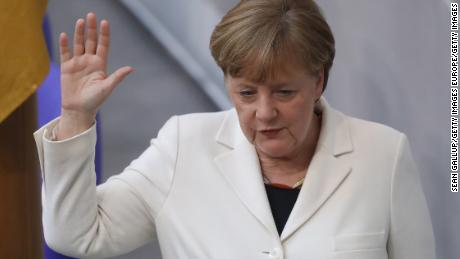 German Chancellor Angela Merkel takes her oath to serve her fourth term as Chancellor following her election by the Bundestag.