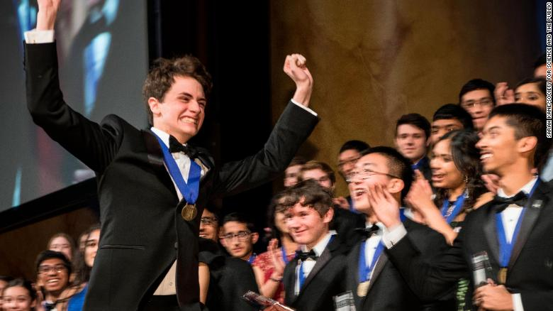 "Benjamin ""Benjy"" Firester at the Science Talent Search gala on March 13. He and the 39 other finalists join an elite alumni network. Since 1942, the US-wide search for the nation's brightest students has seen 13 future Nobel Laureates pass through the competition. <br /><strong><em><br />Scroll through the gallery to discover more about them</strong></em>"