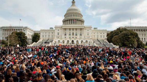 Students rally outside the Capitol Building in Washington, Wednesday, March 14, 2018, a precursor to the March for Our Lives rallies this weekend.