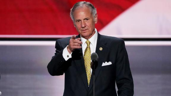 CLEVELAND, OH - JULY 19:  Lt. Gov. of South Carolina, Henry McMaster checks the mic sound on stage prior to the start of the second day of the Republican National Convention on July 19, 2016 at the Quicken Loans Arena in Cleveland, Ohio. An estimated 50,000 people are expected in Cleveland, including hundreds of protesters and members of the media. The four-day Republican National Convention kicked off on July 18.  (Photo by Alex Wong/Getty Images)
