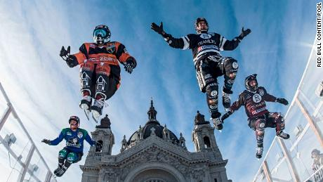 Maxwell Dunne and Cameron Naasz of the United States and Scott Croxall and Kyle Croxall of Canada perform during a trainings session at the first stage of the ATSX Ice Cross Downhill World Championship at the Red Bull Crashed Ice in Saint Paul, United States on January 18, 2018. // Joerg Mitter / Red Bull Content Pool // AP-1UGE31GF92111 // Usage for editorial use only // Please go to www.redbullcontentpool.com for further information. //