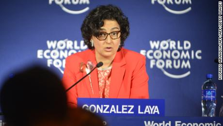 Executive Director of the International Trade Centre Arancha Gonzalez, answers questions during a press conference next to the Founder and Group Chief Executive of The Abraaj Group Pakistani Arif Naqvi, and Panama Canal Administrator Jorge Quijano (out of frame) during the World Economic Forum on Latin America in Playa Bonita, near Panama City, on April 2, 2014. AFP PHOTO / Rodrigo ARANGUA        (Photo credit should read RODRIGO ARANGUA/AFP/Getty Images)