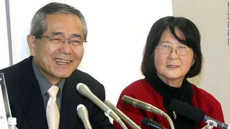Ei-ichi Negishi and his wife, Sumire, in 2010.