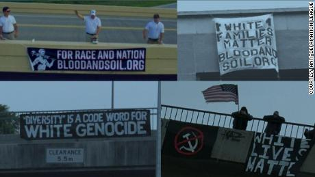 The banners, some of which are displayed above, have been hung in American cities by white supremacist groups.