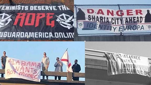 Some of the banners targeted Muslims and African-Americans.