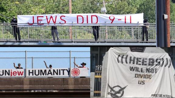 Some of the banners contained anti-Semitic messags.