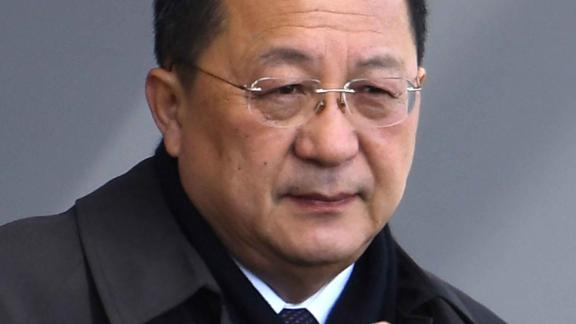 North Korean Foreign Minister Ri Yong Ho on arrival at the Beijing International airport in Beijing, Thursday, en route to Sweden.