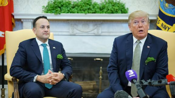 President Donald Trump (R) speaks during a meeting with Ireland's Prime Minister Leo Varadkar (L) in the Oval Office of the White House on March 15, 2018, in Washington.