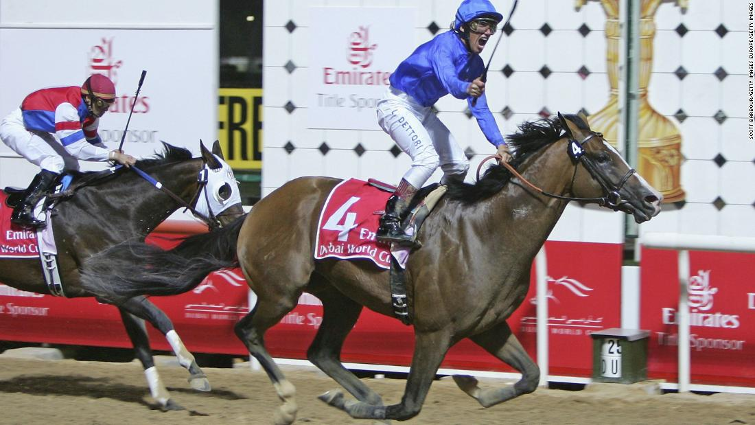 Legendary jockey Frankie Dettori has won the Dubai World Cup three times -- on Dubai Millennium in 2000, Moon Ballad in 2003 and Electrocutionist (pictured) in 2006.