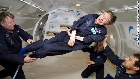Physicist Stephen Hawking experiences a very weight moment during a flight on Zero Gravity jet, near Florida on April 26, 2007. Photo by Zero G via Balkis Press/ABACAPRESS.COM (Newscom TagID: abaphotostwo657387.jpg) [Photo via Newscom]