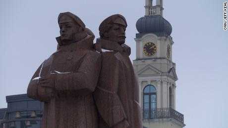 "A controversial statue honoring Latvia's ""red riflemen,"" who made up a faction of the Imperial Russian Army during World War I."