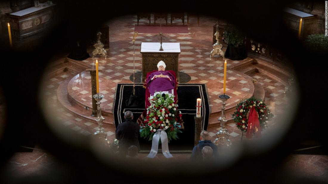 Cardinal Karl Lehmann lies in state at a church in Mainz, Germany, on Tuesday, March 13. He died Sunday at the age of 81.