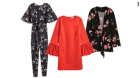 75fd7df5ce09 Left to right: Jumpsuit ($27.99, originally $59.99; hm.com);  Flounce-sleeved dress ($19.99, originally $49.99; hm.com); Jacket with tie  belt ($19.99, ...