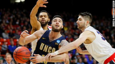 BOISE, ID - MARCH 15:  Francis Alonso #10 of the UNC-Greensboro Spartans is fouled by Killian Tillie #33 of the Gonzaga Bulldogs in the first half during the first round of the 2018 NCAA Men's Basketball Tournament at Taco Bell Arena on March 15, 2018 in Boise, Idaho.  (Photo by Kevin C. Cox/Getty Images)
