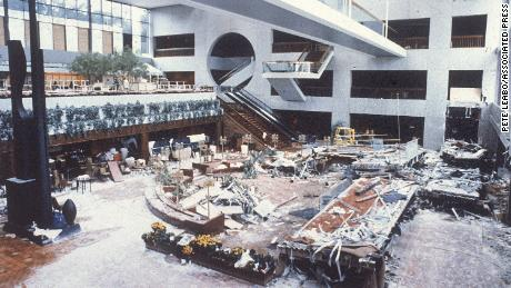 The wreckage of two catwalks is scattered through the lobby of the Kansas City Hyatt Regency Hotel on July 19, 1981.