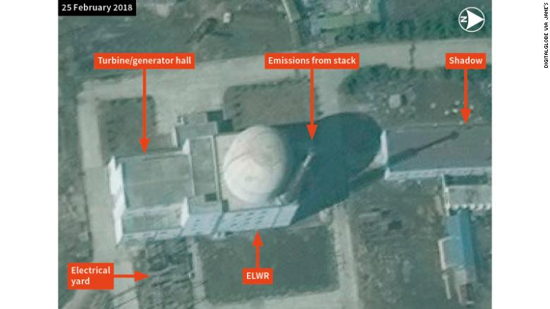 DigitalGlobe imagery showing emissions from the stack at the Yongbyon experimental light water reactor in February.