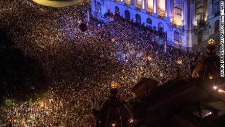 Aerial view from a 2018 demonstration over the killing of Brazilian councilwoman and activist Marielle Franco.