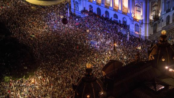 Aerial view from a 2018 demonstration against the murder of Brazilian councilwoman and activist Marielle Franco.