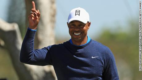 ORLANDO, FL - MARCH 15: Tiger Woods reacts to his birdie putt on the seventh hole during the first round at the Arnold Palmer Invitational Presented By MasterCard at Bay Hill Club and Lodge on March 15, 2018 in Orlando, Florida.  (Photo by Mike Ehrmann/Getty Images)