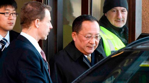 North Korean Foreign Minister Ri Yong Ho (C) leaves the Swedish goverment building Rosenbad in central Stockholm on March 16, 2018.  North Korea's top diplomat arrived in Sweden on March 15,  for two days of talks which could play a role in setting up a proposed summit between Donald Trump and Kim Jong Un. / AFP PHOTO / TT News Agency / Vilhelm STOKSTAD / Sweden OUT        (Photo credit should read VILHELM STOKSTAD/AFP/Getty Images)