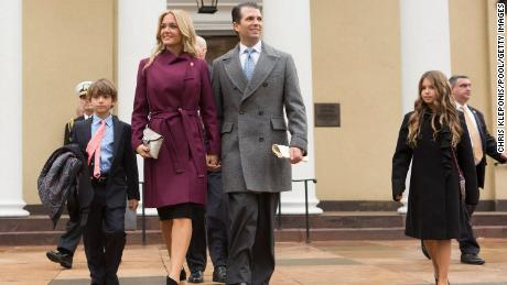 WASHINGTON, DC - JANUARY 20:  Donald Trump Jr, with his wife Vanessa and children departs St. John's Church on Inauguration Day on January 20, 2017 in Washington, DC. Donald J. Trump will become the 45th president of the United States today.  (Photo by Chris Kleponis/Pool/Getty Images)