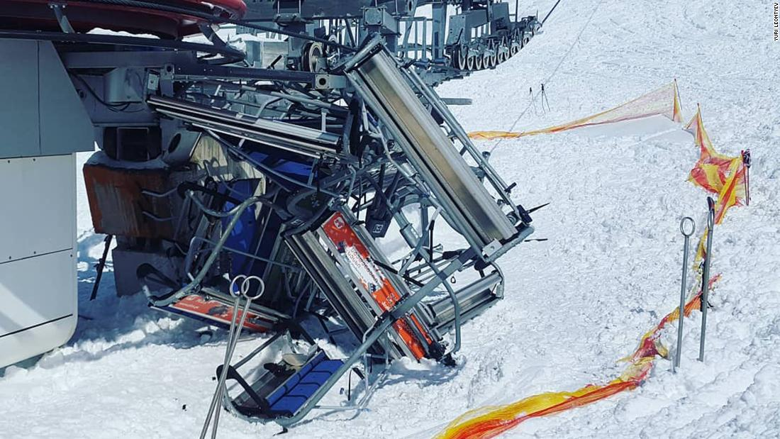 Skilift failure sends people flying