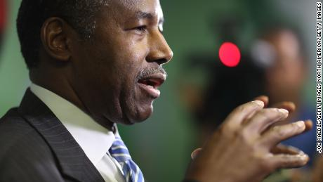 MIAMI, FL - APRIL 12:  U.S. Housing and Urban Development Secretary Ben Carson speaks to the media during a visit to the Liberty Square apartment complex on April 12, 2017 in Miami, Florida. Secretary Carson is on a national listening tour to hear from the people and organizations who rely on and support public housing.  (Photo by Joe Raedle/Getty Images)