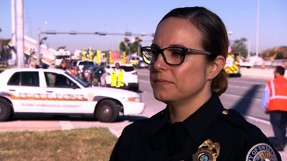 Sweetwater police Sgt. Jenna Mendez says she saw the pedestrian bridge collapse over 8th Street near Florida International University on the afternoon of Thursday, March 15, 2018, as she was stopped at a red light one intersection away.
