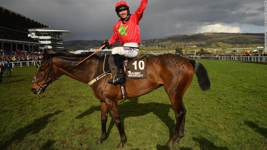 <strong>Maiden victory: </strong>Earlier in the day, Harry Cobden won the Albert Bartlett Novices' Hurdle on Kilbricken Storm for his first ever Cheltenham Festival victory.