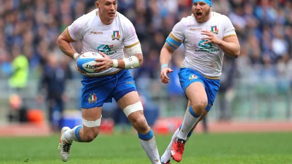 For Italian captain Sergio Parisse (left), the defeat meant he became the first person ever to lose 100 test matches. His side failed to pick up a win in the Six Nations for the third season in a row.