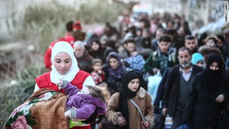 "The situation is ""at the tip of a collapse"" for civilians fleeing Eastern Ghouta and those who remain, according to the United Nations special envoy for Syria, Staffan de Mistura."