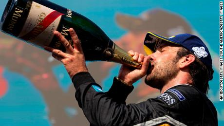 SANTIAGO, CHILE - FEBRUARY 3: In this handout provided by FIA Formula E - Jean-Eric Vergne (FRA), TECHEETAH, Renault ZE 17, drinks champagne on the podium during the Santiago ePrix, Round 4 of the 2017/18 FIA Formula E Series on February 3, 2018 in Santiago, Chile. (Photo by Alastair Staley/LAT Images/FIA Formula E via Getty Images)