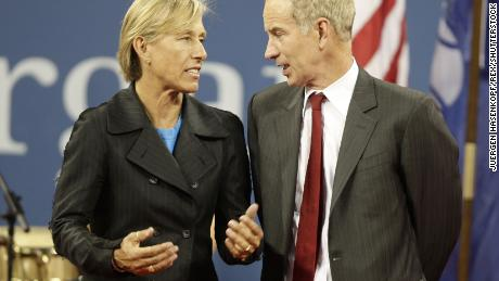 Mandatory Credit: Photo by Juergen Hasenkopf/REX/Shutterstock (794093m) Martina Navratilova und John McEnroe US Open Tennis Championships opening ceremony at the Billie Jean King Tennis CenterNew York, America - 25 Aug 2008 The U.S. Open began in star-studded fashion Monday as former Open champs returned to celebrate the 40th anniversary of the Open Era. Gabriela Sabatini, Monica Seles, Chris Evert, Martina Navratilova, John McEnroe, Mats Wilander and Ivan Lendl all put in an appearance.