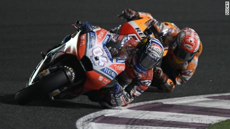 Ducati's Andrea Dovizioso leads Honda's Marc Marquez in a thrilling finale to the MotoGP of Qatar