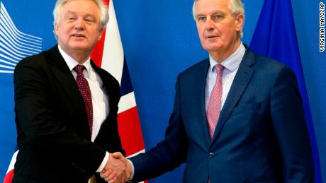 European Union chief Brexit negotiator Michel Barnier, right, and British Secretary of State for Exiting the European Union David Davis.