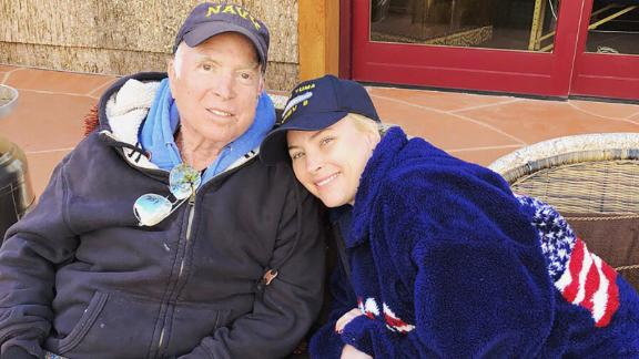 """""""No place I would rather be,"""" Meghan McCain tweeted with this photo of her and her father in March 2018."""