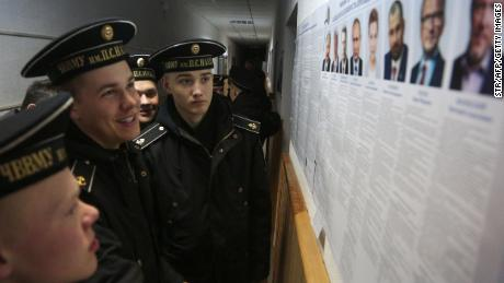 Cadets of the Nakhimov naval academy vote at in Sevastopol, Crimea, on Sunday.