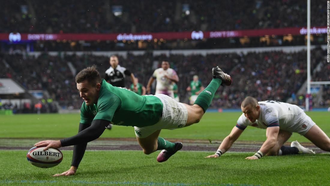 Jacob Stockdale scored against England on the stroke of halftime. His seven tries for the tournament is a Six Nations record.