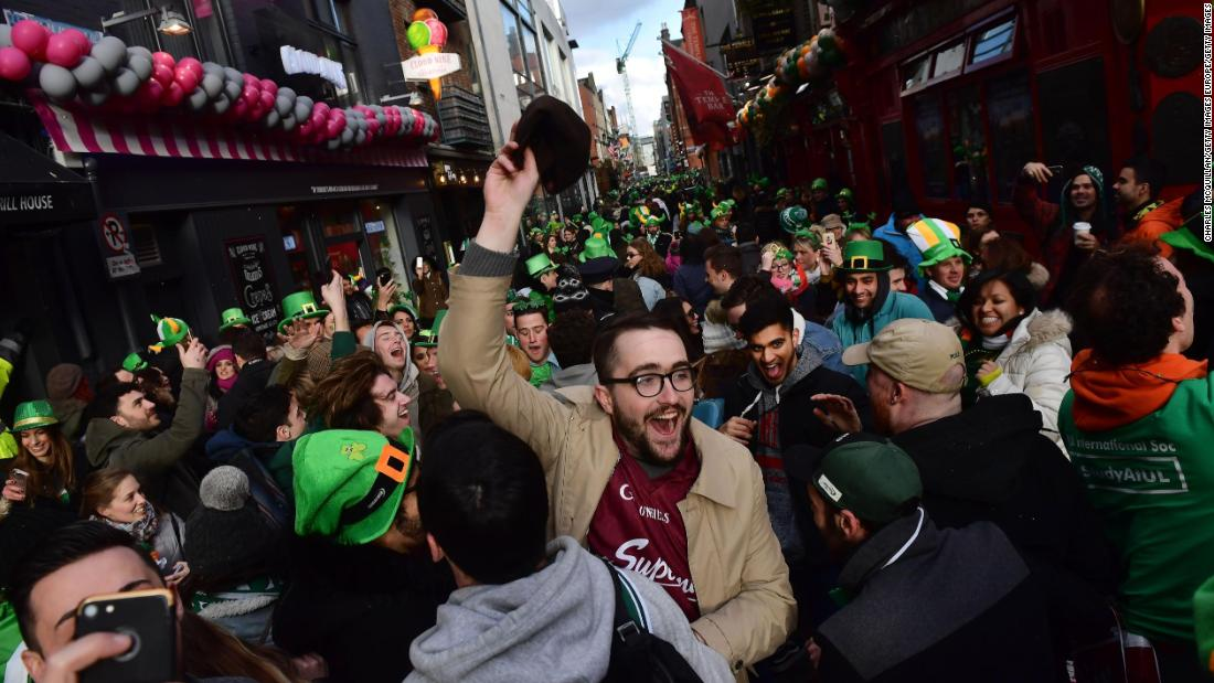 There were wild scenes back home in Dublin where Irish fans celebrated St. Patrick's Day in style.