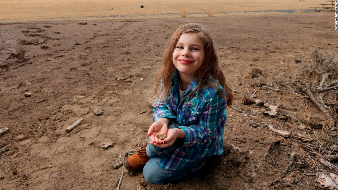 Naomi Vaughan, now 7, found an ammonite fossil at her older sister's soccer game last year.