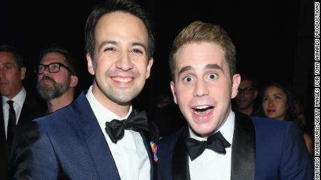 Lin Manuel-Miranda and Ben Platt attend the 2017 Tony Awards - Backstage & Audience on June 11, 2017 in New York City.