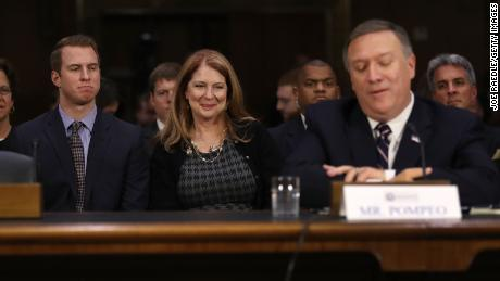 Nick Pompeo (L) and Susan Pompeo look on at their husband and father U.S. President-elect Donald Trumps nominee for the director of the CIA, Rep. Mike Pompeo(R-KS) as he attends his confirmation hearing before the Senate (Select) Intelligence Committee on January 12, 2017 in Washington, DC. (Joe Raedle/Getty Images)