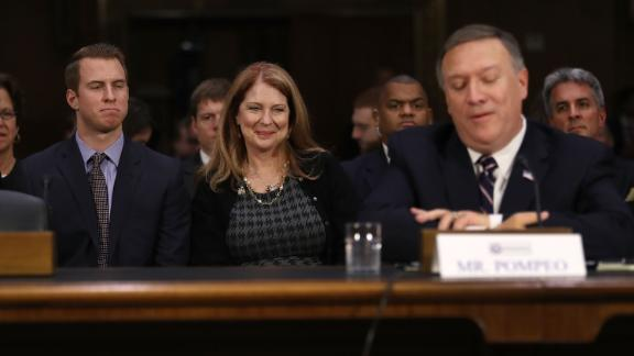 Nick Pompeo (L) and Susan Pompeo look on at their husband and father U.S. President-elect Donald Trump's nominee for the director of the CIA, Rep. Mike Pompeo(R-KS) as he attends his confirmation hearing before the Senate (Select) Intelligence Committee on January 12, 2017 in Washington, DC. (Joe Raedle/Getty Images)