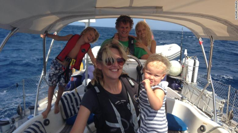 The Craven family aboard their sailing yacht, Aretha.