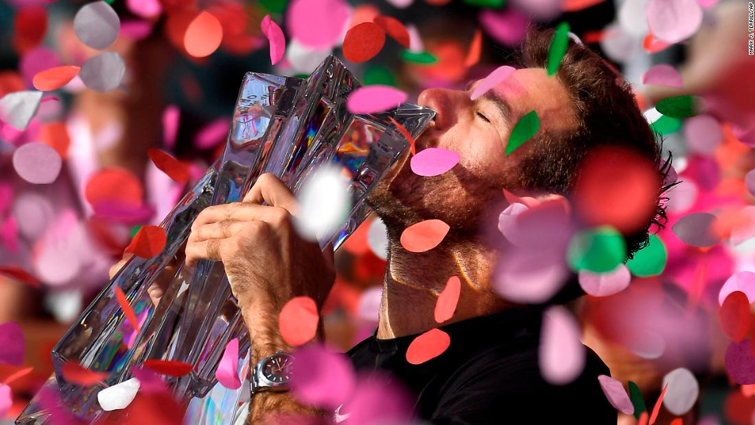 "Juan Martin del Potro kisses his trophy after winning the BNP Paribas Open on Sunday, March 18. <a href=""https://www.cnn.com/2018/03/19/tennis/spt-juan-martin-del-potro-roger-federer-indian-wells/index.html"" target=""_blank"">Del Potro defeated Roger Federer</a> in the final."