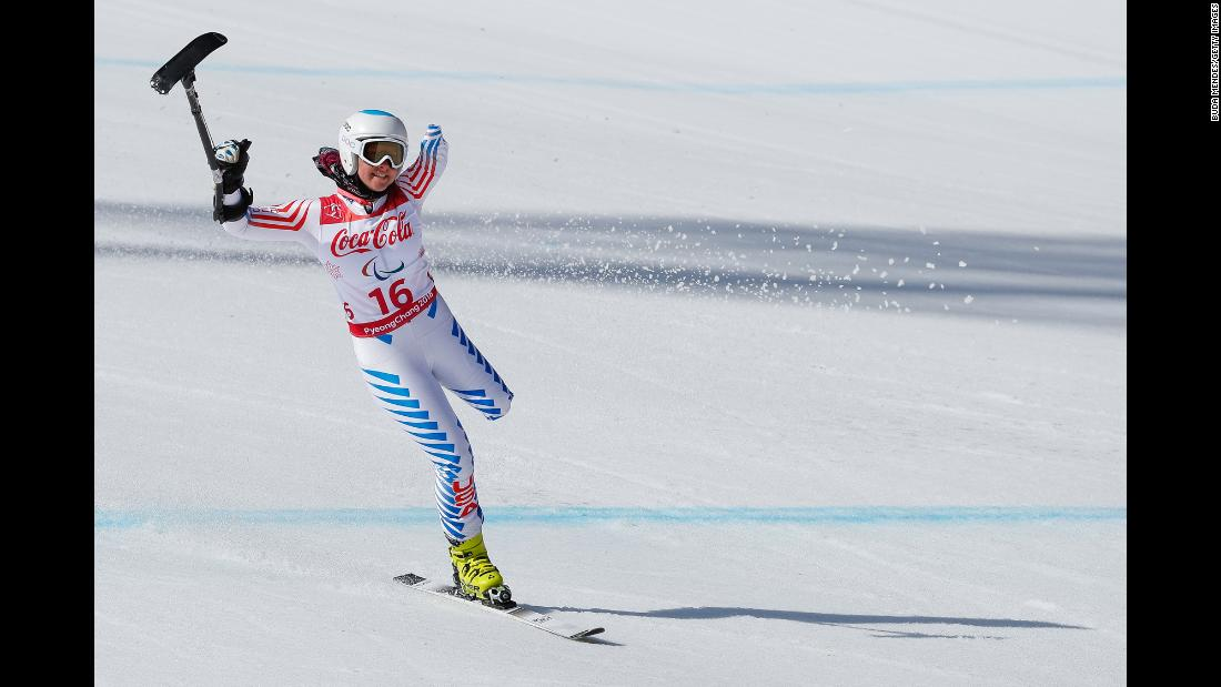 American skier Stephanie Jallen finishes a run at the Winter Paralympics on Tuesday, March 13.
