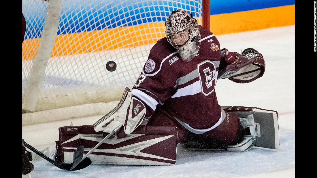 Colgate goalie Julia Vandyk keeps her eye on the puck during the NCAA championship game against Clarkson on Sunday, March 18. Clarkson won 2-1 in overtime for its second straight national title and its third in five years.