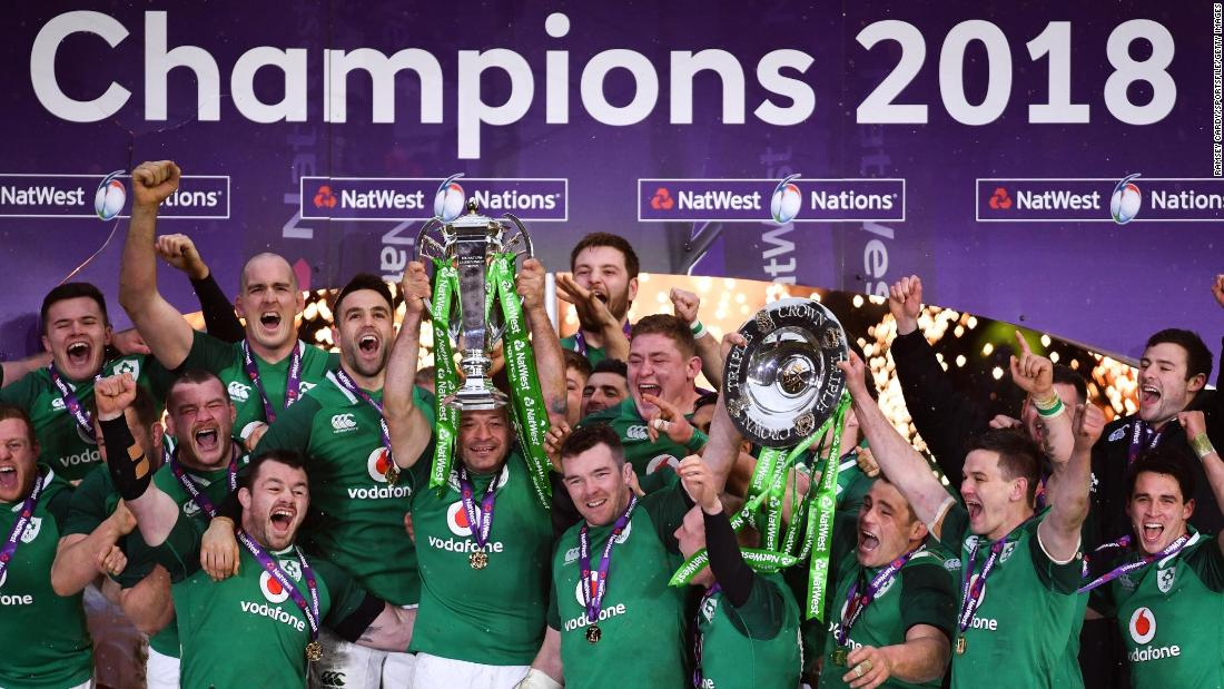"Ireland's rugby team celebrates its Six Nations title in London on Saturday, March 17. The Irish <a href=""https://www.cnn.com/2018/03/17/sport/six-nations-rugby-ireland-grand-slam-england-twickenham-intl/index.html"" target=""_blank"">defeated England</a> for a historic Grand Slam."
