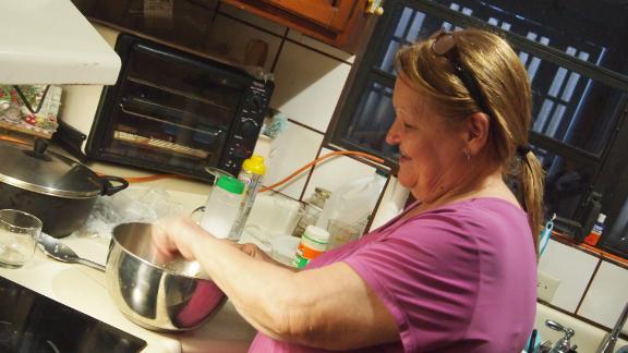 Hilda, Leyla Santiago's aunt, finally has plantains to cook.